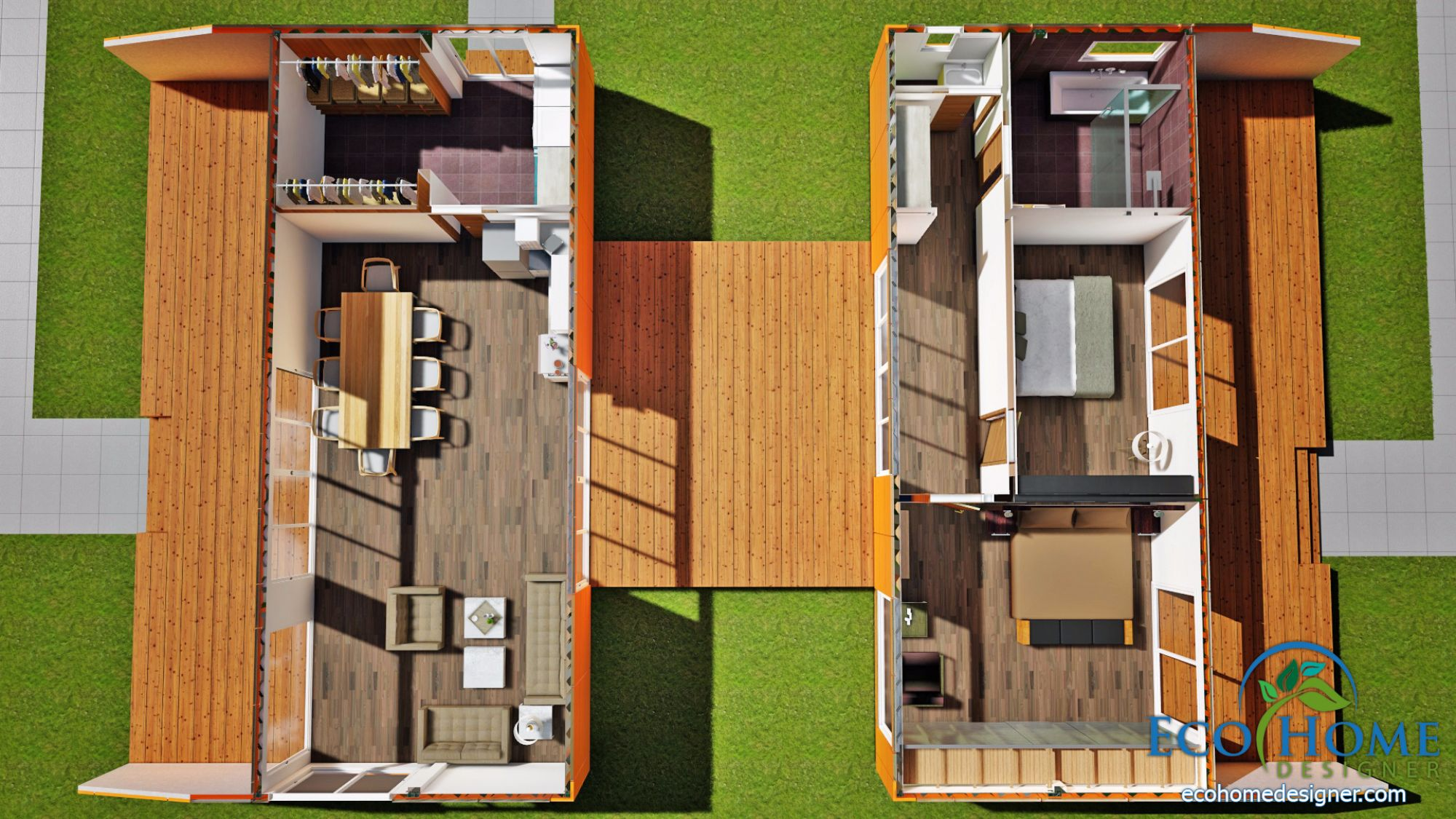 Sch13 4 x 40ft with breezeway and decks 05 1 - 40ft shipping container home ...
