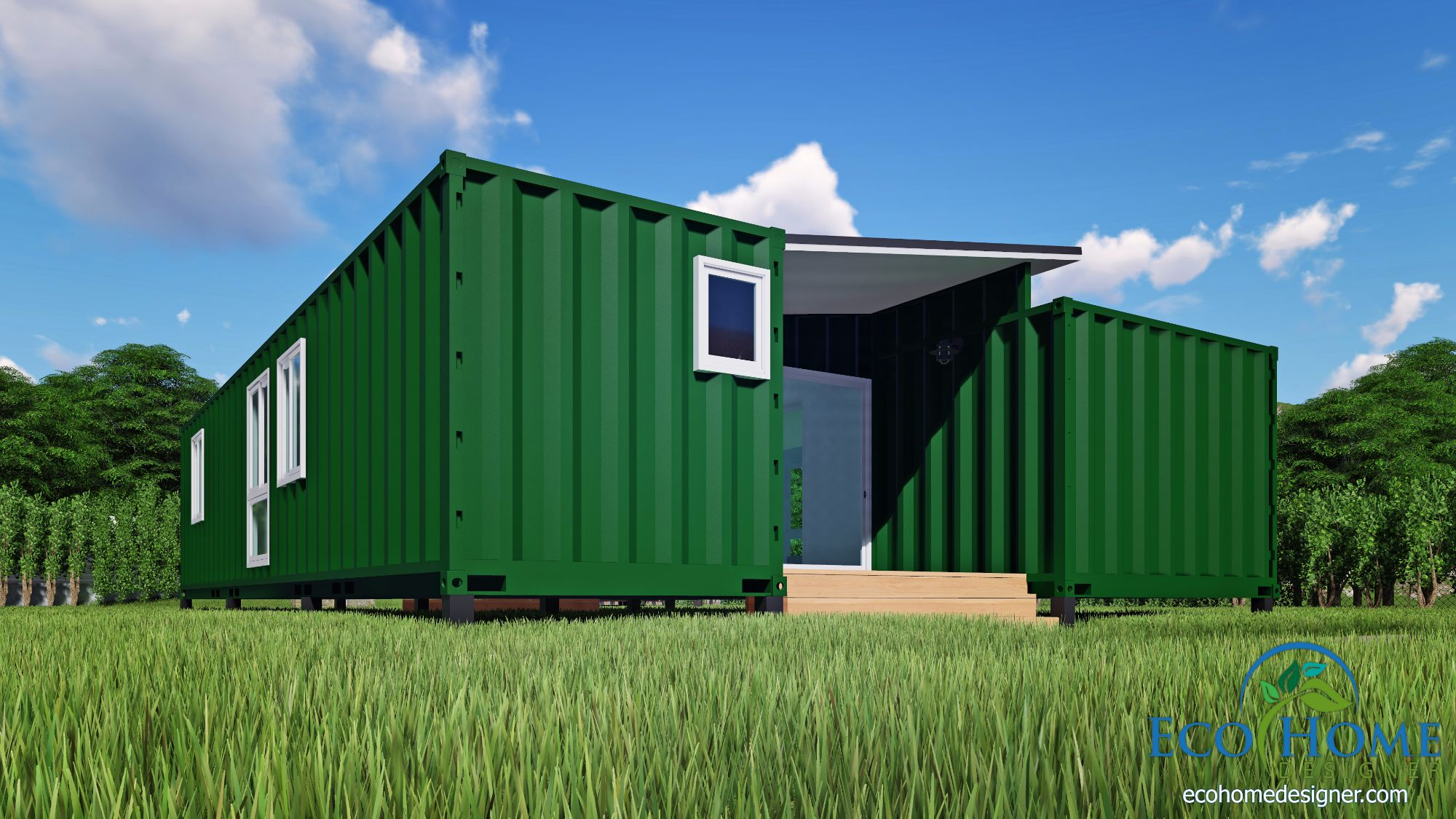 SCH15 2 x 40ft Container Home Plan with Breezeway | Eco Home Designer