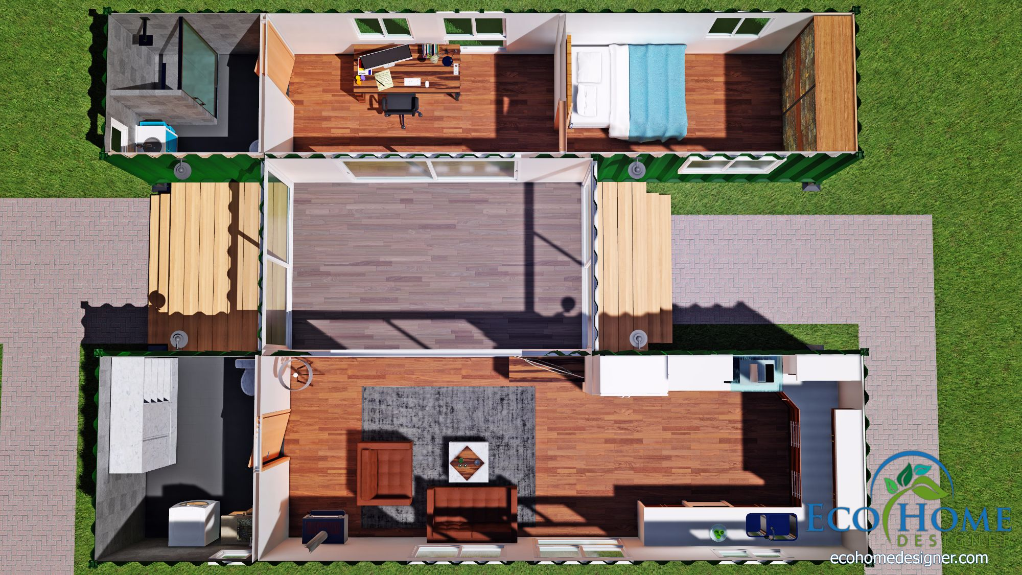 Sch15 2 x 40ft container home plan with breezeway eco for Design shipping container home online