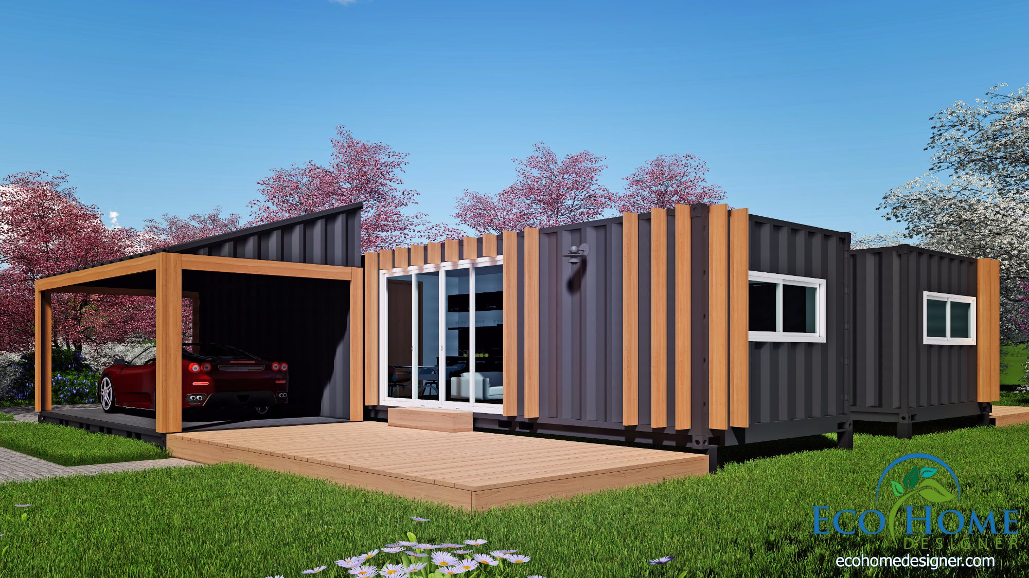 Sch19 2 12m x shipping container granny flats eco for Home designs 12m frontage