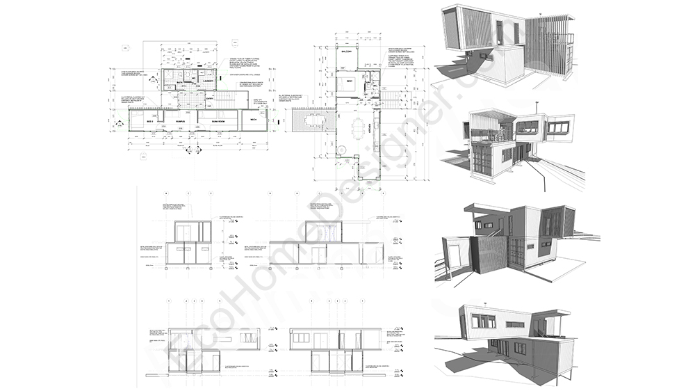 Custom container home plans eco home designer for Maison modulaire container