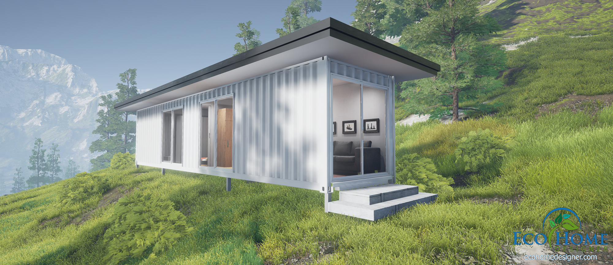Sch1 single 40ft container cabin plans eco home designer for Www homee