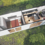 sch1 single 40ft container cabin 3d render