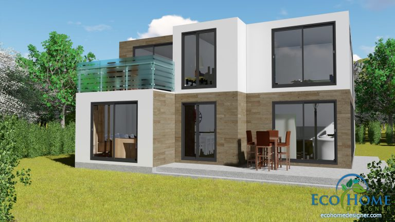 custom shipping container home 3d render