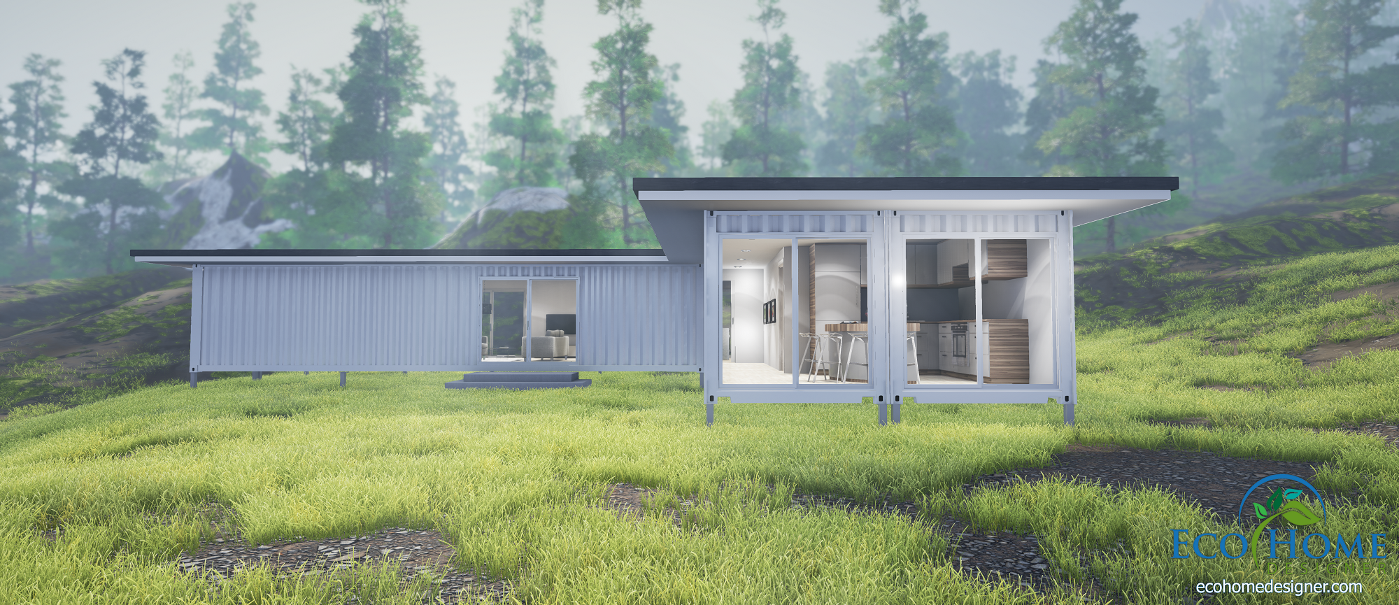 Sch4 4 x 40ft three bedroom container home eco home designer for 3 40 ft container home