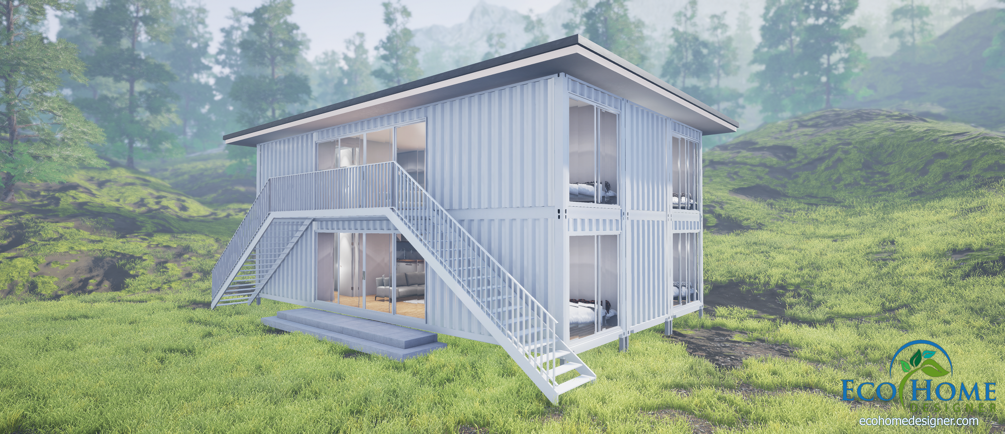sch6 6 x 40ft double storey container duplex eco home