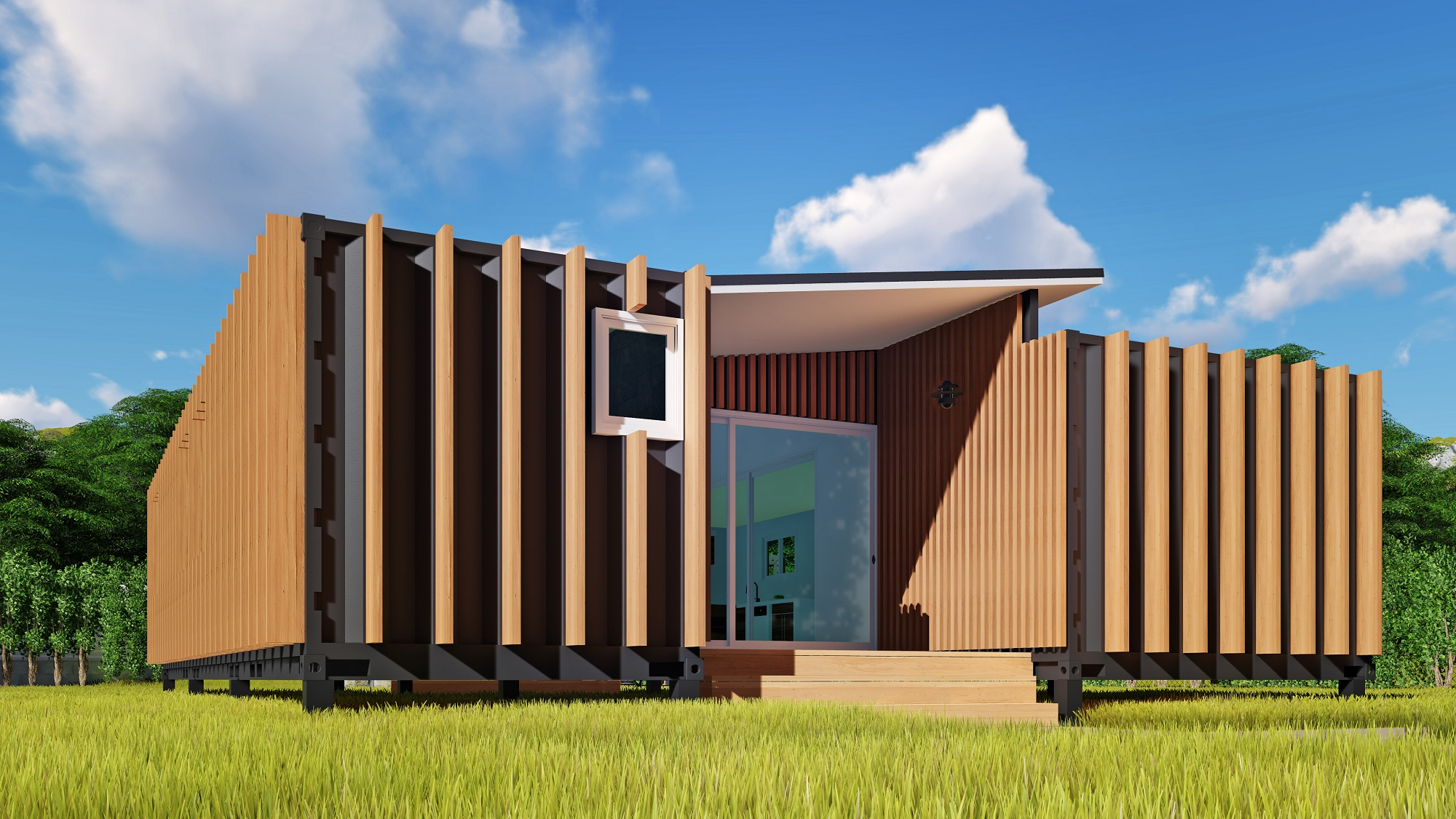 Sch15 2 x 40ft container home plan with breezeway eco for Extension container