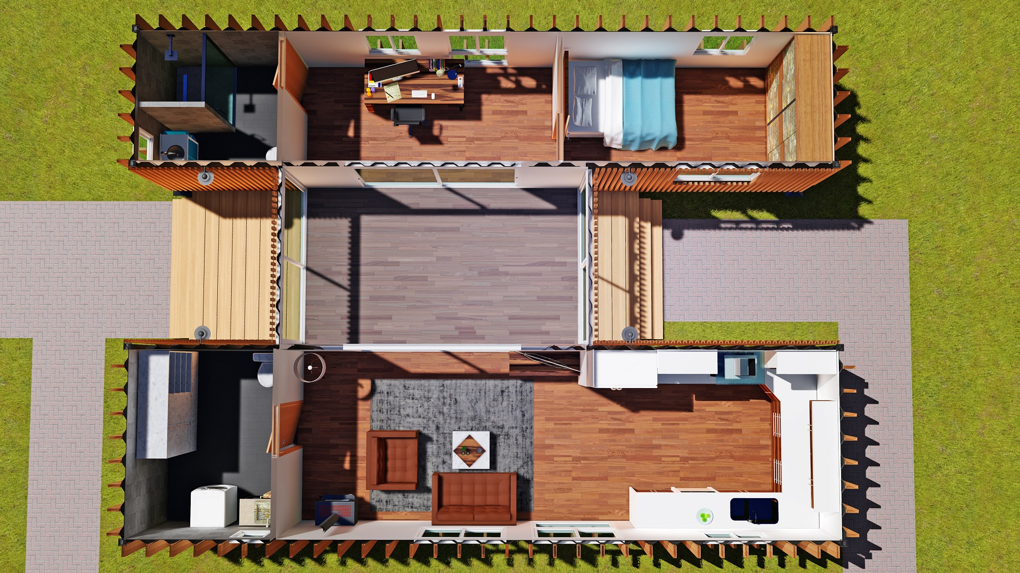 Sch15 2 x 40ft container home plan with breezeway eco for Shipping containers homes plans