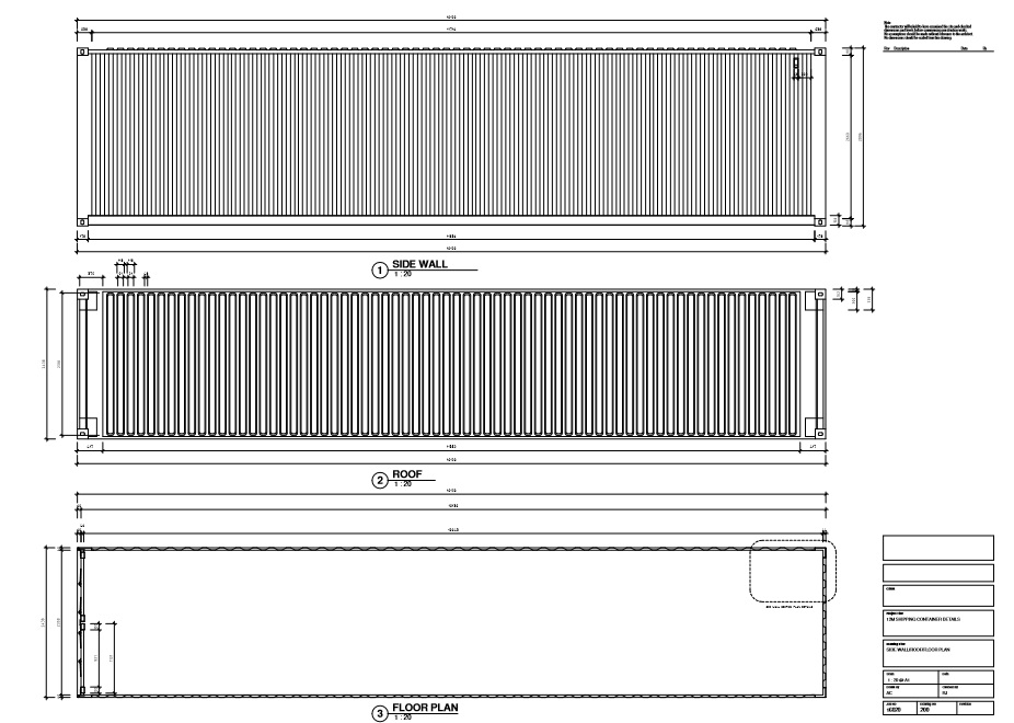 Shipping container technical drawing 12m 40ft eco for Plan container
