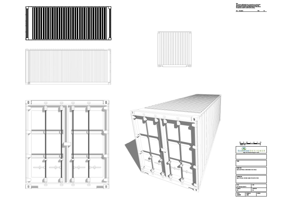 Shipping container technical drawing 6m 20ft eco home designer - Shipping container home plans and drawings ...