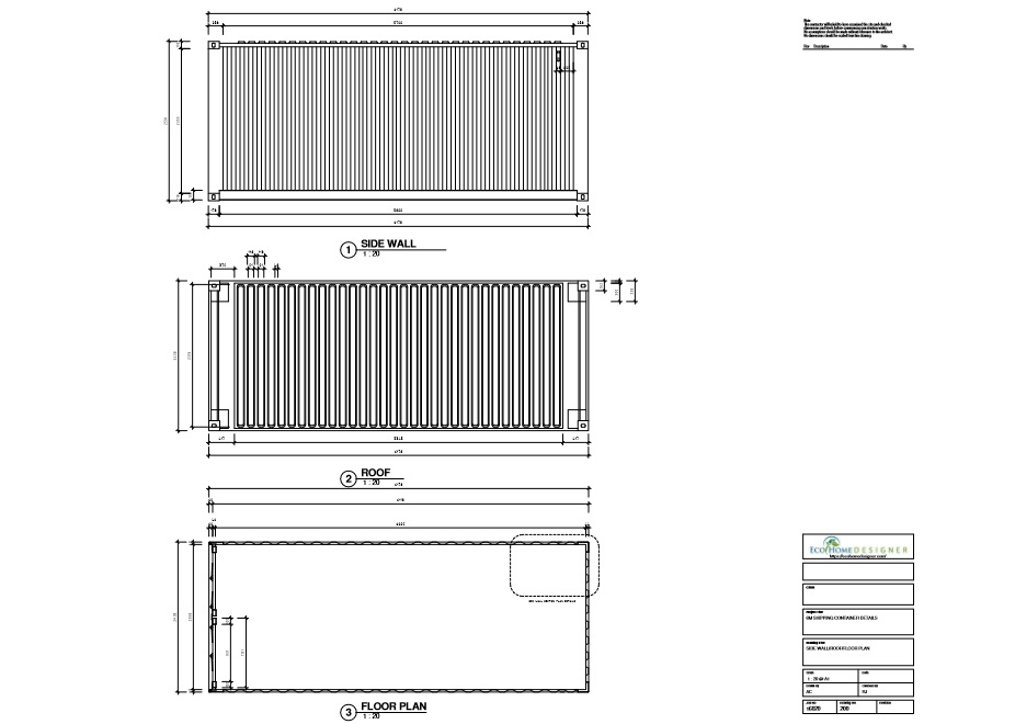Shipping container technical drawing 6m 20ft eco for Plan container