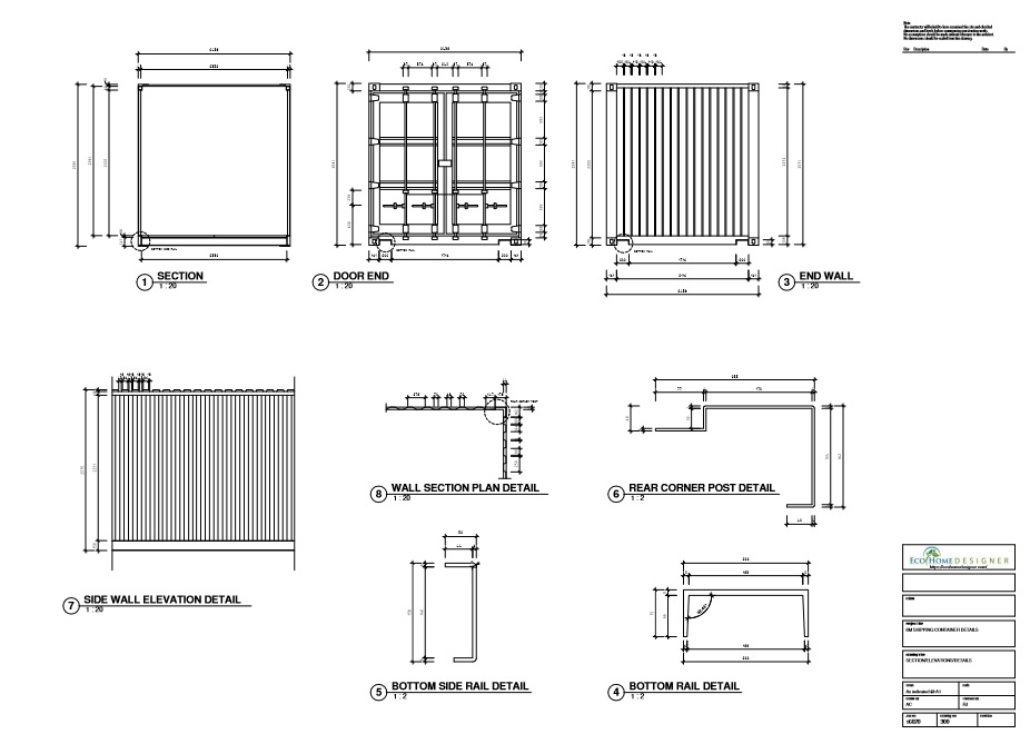 Shipping Container Technical Drawing 6m 20ft Eco Home Designer